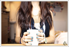 November Mug Shot (i ea sars) Tags: november blue autumn winter portrait woman white house selfportrait hot fall home cup girl fashion azul sparkles glitter hair table design wooden necklace drink desk room nail watch feathers style jewelry hotchoc