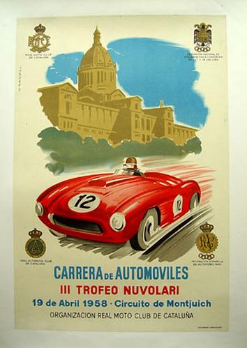 022-Carrera de automoviles III trofeo Nuvolari circuito de Montjuich 1958-© 2010 Vintage Auto Posters. All Rights Reserved