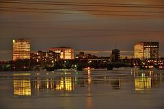 The Buildings Reflections. (Photolove2017) Tags: photolove2017 tiaphoto d7100 nikondx nikon quebec ottawagatineau ontario canada reflection bridge night colors ottawariver snow ice winter