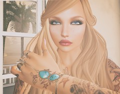 Elegance (Montana Magnifico) Tags: blonde blue eyes soft freckles curls long hair sensual vintage sl second life art