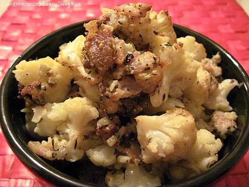Roasted Cauliflower w/ Bacon & Parmesan