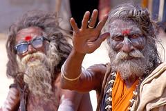 Holy men in Varanasi.  India (Bertrand Linet) Tags: india hair beard indian varanasi sadhu holymen indianmen bertrandlinet