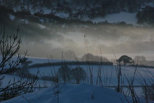 Hazy snowy view