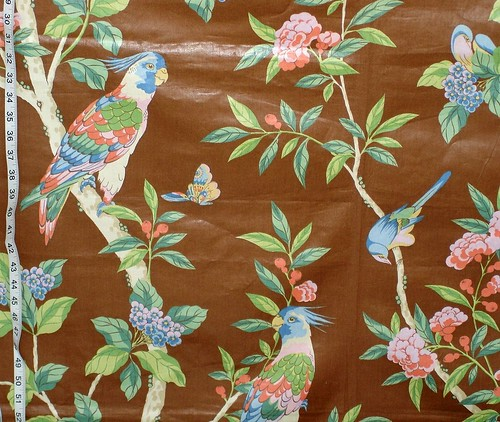 Vintage cockatoo chintz fabric