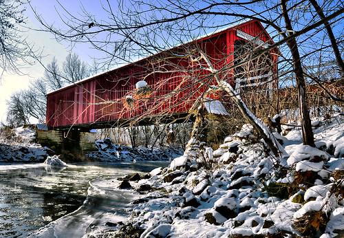 The red covered bridge over big bureau creek bureau county