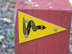 Snake symbol indicating the Bibbulmun Track (Sparky the Neon Cat) Tags: sign track symbol snake australia western manjimup bibbulmun