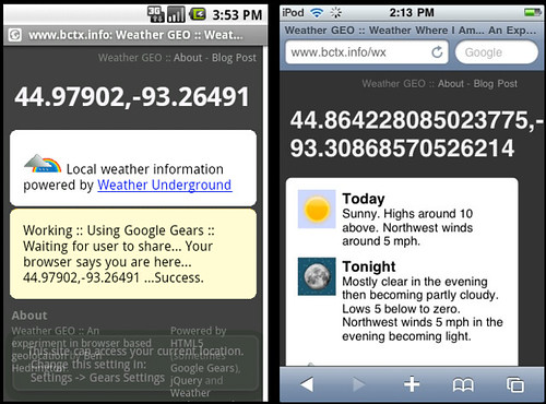 Android, iPhone Geolocation Weather GEO