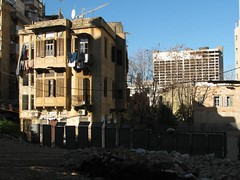 old building foreground, new building background