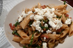 Penne with Sausage, Eggplant and Feta