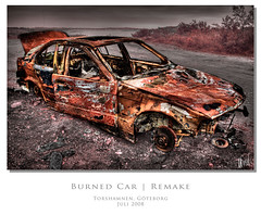 Burned Car | Remake (martin fredholm) Tags: urban car gteborg fire sweden decay wreck remake hdr burned quadtone labmode photomatix hisingen tonemapped 3raws torshamnen