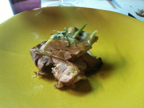 Yam'Tcha: Touraine chicken, roasted and steamed, with Korean pine mushrooms