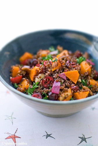 Recipe for Red Quinoa with Roasted Butternut Squash, Cranberries and Pecans