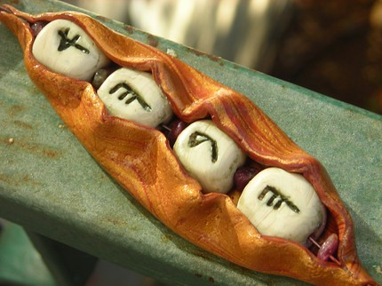 Ahava, Love, Faux Bone Wrapped in Pod, Ancient Hebrew Script, polymer clay, tourmaline, olive jade, natural gemstone, mixed media unisex chain and pendant necklace