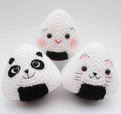 Onigiri Couple Amigurumi Free Crochet Pattern : Ravelry: Japanese Onigiri Dolls Kitty Panda with special ...