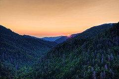 Morton's Overlook at Sunset, The Great Smoky Mountains (Pheno Me Non) Tags: trees sunset sky sun sunlight mountains yellow night forest landscape nikon skies tennessee clear nationalparks geotag smokies hdr highdynamicrange smokymountains hdri appalachianmountains greatsmokymountainsnationalpark newfoundgap d90 yellowsky clearnight mountaingap regionwide mortonsgap