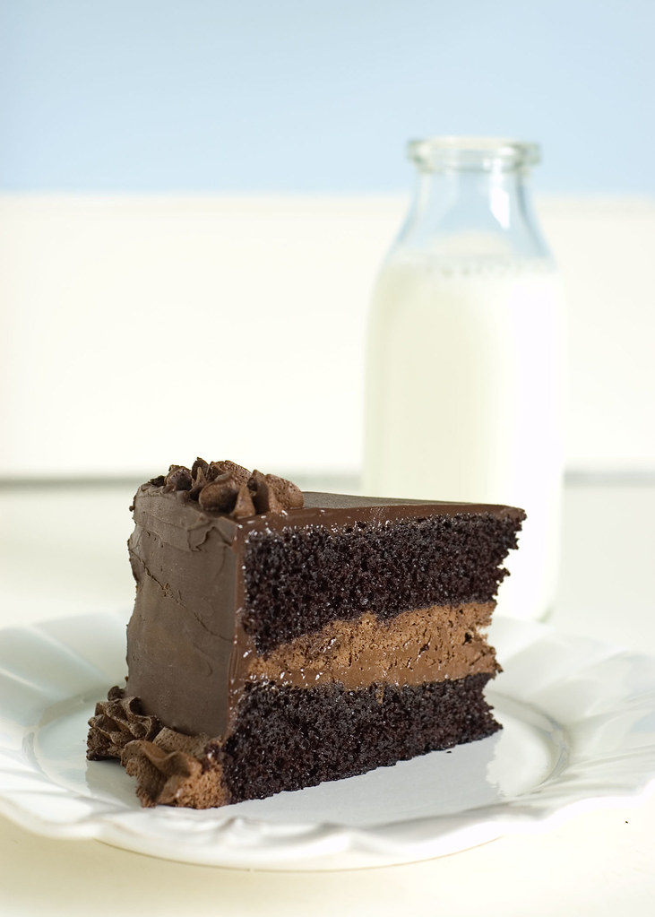 intense deep chocolate cake - slice with milk