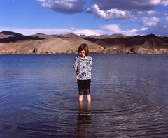 (andrew sea james) Tags: portrait lake mountains color reflection 120 film water girl clouds fuji child pentax scanner slide epson ripples 6x7 smc provia 100f 105mm f24 v500