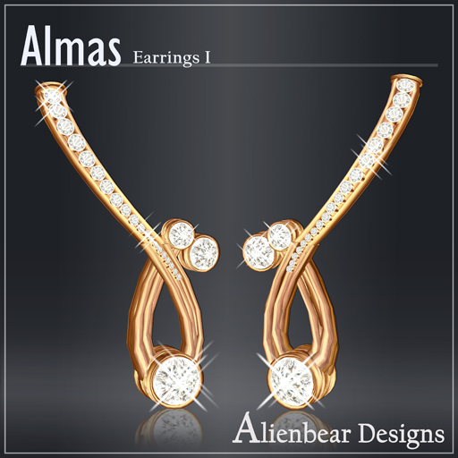 Almas gold earrings I white