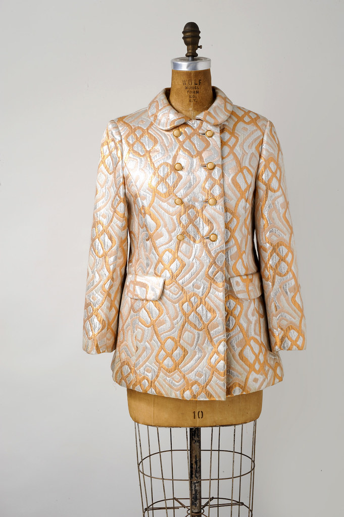 1960s MOD Metallic Op Art Quilted Jacket Silver and Gold Geometric