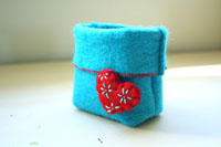 "turquoise felt basket...""j'aime!""...renewing those precious feelings"