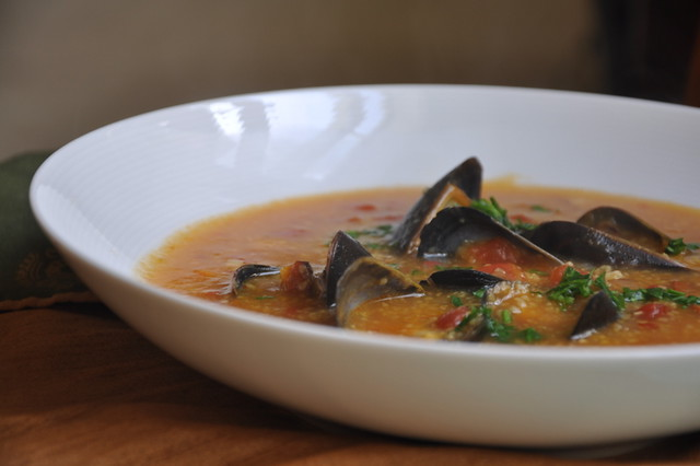 Mussels and Chorizo in Polenta Broth