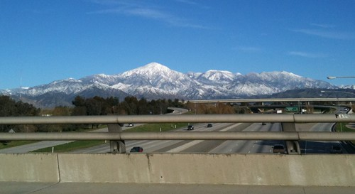 Snow-capped mountains in Redlands, CA