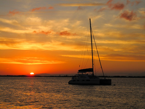 Sailboat at Sunset in Belize on the Barrier Reef