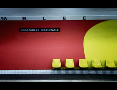 MBLEE [urban life in technicolor] () Tags: red paris station yellow underground metro metropolitain urbanjungle tamron francia metropolitana museedorsay parigi assembleenationale 1750mm 7arrondissement lifeintechnicolor vincenzopapa