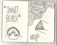 My Moleskine '10 (27-28) (llymlrs) Tags: moleskine eh ink handwriting paper notebook typography triangle patterns letters shapes quotes type doodles pens sketches fonts useless innit blud handdrawntype handdrawnpatterns llymlrs experimentalfonts