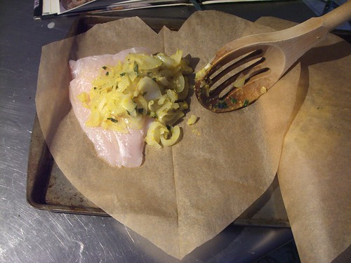 Easy valentine's dinner recipe – Citrus Steamed Fish in heart shaped parchment paper