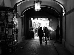 Barcelona 68 (Andy WXx2009) Tags: barcelona people urban blackandwhite woman monochrome shopping walking spain europe nightshot artistic cardiff streetphotography espana silouhettes