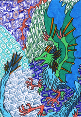 Dragon with Zentangles (unavailable) (Chimerastone) Tags: west atc artisttradingcard dragon drawing originalartwork east colourful zentangles
