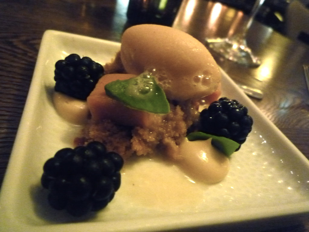 Blackberries, banana sorbet, brown sugar and coffee cake