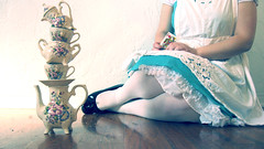 Why is a Raven Like a Writing Desk? (squeakysharpie) Tags: blue light white glass girl hearts shoes looking dress tea alice lewis tights queen cups card balance carroll through wonderland selfportriat selfie