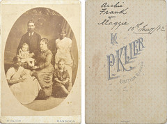 "Portrait of family group including ""Archie, Frank & Maggie"" Dickson? dated 10 January 1882, from mystery album"