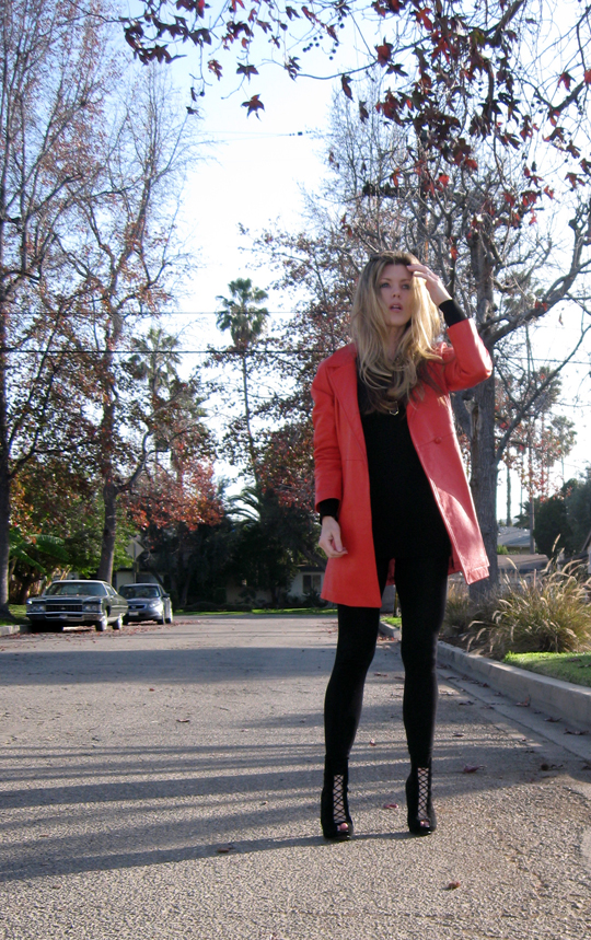 coral red leather vintage coat-3