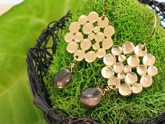 {jubilee} .gold. (postscriptedesigns) Tags: gold bubbles earrings organic matte smokeyquartz postscripted