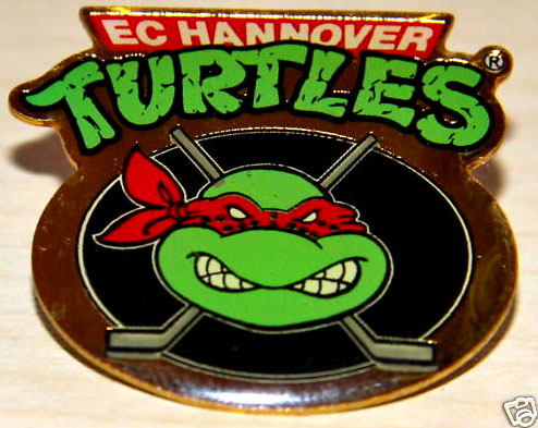 "EC - Hannover Turtles :: ""TMNT Face Logo ""  Cloisonne Pin (( 1996 )) [[ ebay pic ]]"