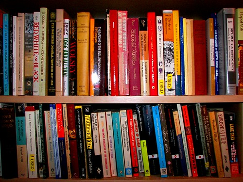 shelf full of books; bookshelf with books; rows of literature