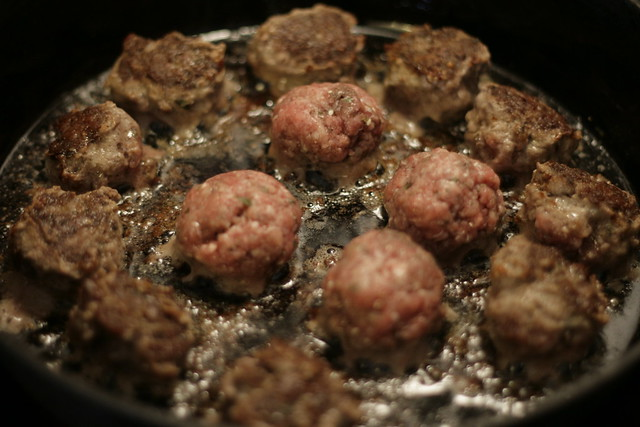 Meatballs cooking in a skillet by Cinnachick on Flickr