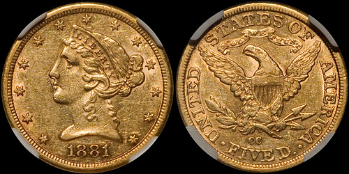 1881-CC $5.00 NGC AU55