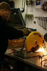 IMG_7465 (geospatialjim) Tags: bike shop fun cool iron steel welding weld seat garage tools bicycles business cutting chopping hip ghent cruisers grinding metalworking cooling seatpost welder beachcruisers ghentcruisers gcruisers