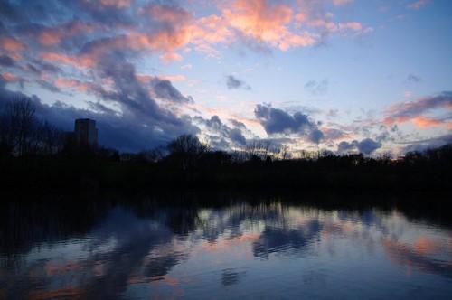 étang au soleil couchant -25/2/2010.