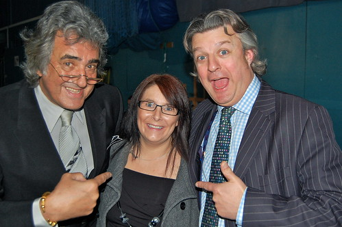 David Dickinson, contestant Gemma Croucher and auctioneer Philip Allwood at the filming of David Dickinson's Real Deal