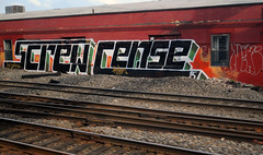 SCREW CENSE (alankin) Tags: streetart abandoned philadelphia 510fav buildings geotagged screw graffiti pennsylvania decay painted tags rails fromthetrain 200views inpassing philly walls nikkor septa postindustrial urbanlandscape redbrick r8 trainline cense stenton niknala af24mmf28 nikond300 chestnuthillwestline 22apr2008 PTLens:BPdistortion=correct geo:lon=75158888 1700179bmu skrewcense geo:lat=39995823