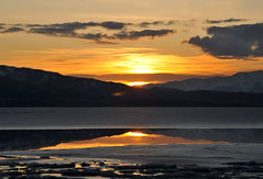 sunset over th ice on utah lake (houstonryan) Tags: winter sunset lake snow storm reflection ice water clouds season landscape harbor boat utah ryan lakes houston fork reflected reflect american iced af wintertime harbors stacks reflects waterscape houstonryan