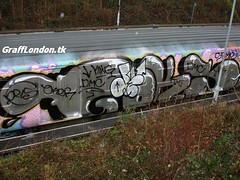 Dels & Oker taking out goks' (London Art) Tags: london train graffiti dpm oker dels goks