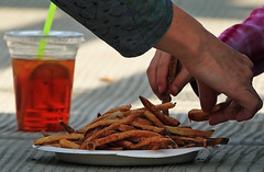 Tea & Fries (Ian Sane) Tags: china park old food water up tom canon river portland ian photography eos town hands downtown close waterfront ketchup market tea mark candid saturday front governor ii fries 5d willamette sane mccall catslop