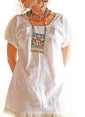 Mexican embroidered mini dress white (Aida Coronado Galeria) Tags: travel wedding beach mexico surf dress embroidery unique ooak traditional style resort clothes mexican exotic oaxaca ethnic puebla bohemia rare mexicano bohemian vestido bordado mexicandress mexicanculture hippiedress vestidomexicano aidacoronado resortclothing