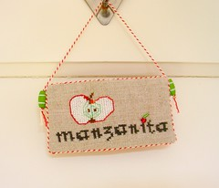 Manzanita (Deep Indigo) Tags: red green apple beige crossstitch natural manzana linen embroidery decoration fabric manzanita bakerstwine